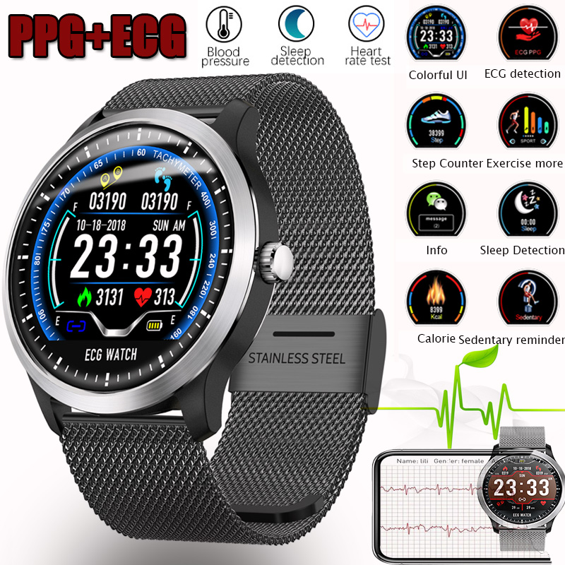 Bluetooth Smartwatch ECG+PPG Smart Wristband with Electrocardiograph Display Holter Heart Rate Monitor Blood Pressure Pedometer abpm50 ce fda approved 24 hours patient monitor ambulatory automatic blood pressure nibp holter with usb cable