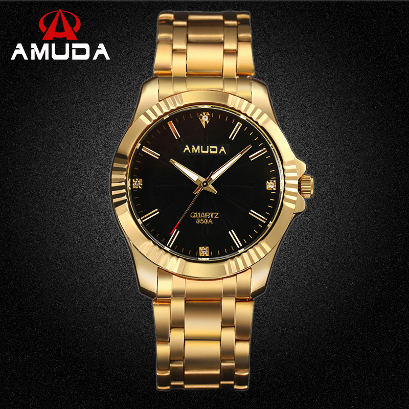 AMUDA Top Quality Clock Gold Fashion Men Watch Full Gold Stainless Steel Quartz Watches Wrist Watch Gold Business Watch new clock gold fashion men watch full gold stainless steel quartz watches wrist watch wholesale kezzi gold watch men k1174