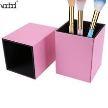 Square Magnetic Pink PU Leather Pen Holder Desk Organizer Stationery Makeup  Storage Box Pencil Container Office