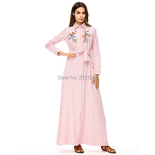 Muslim Stripe Maxi Dress Trumpet Sleeve Abaya Long Skirt Robe Gowns Tunic  Kimono b330bbb27bf1