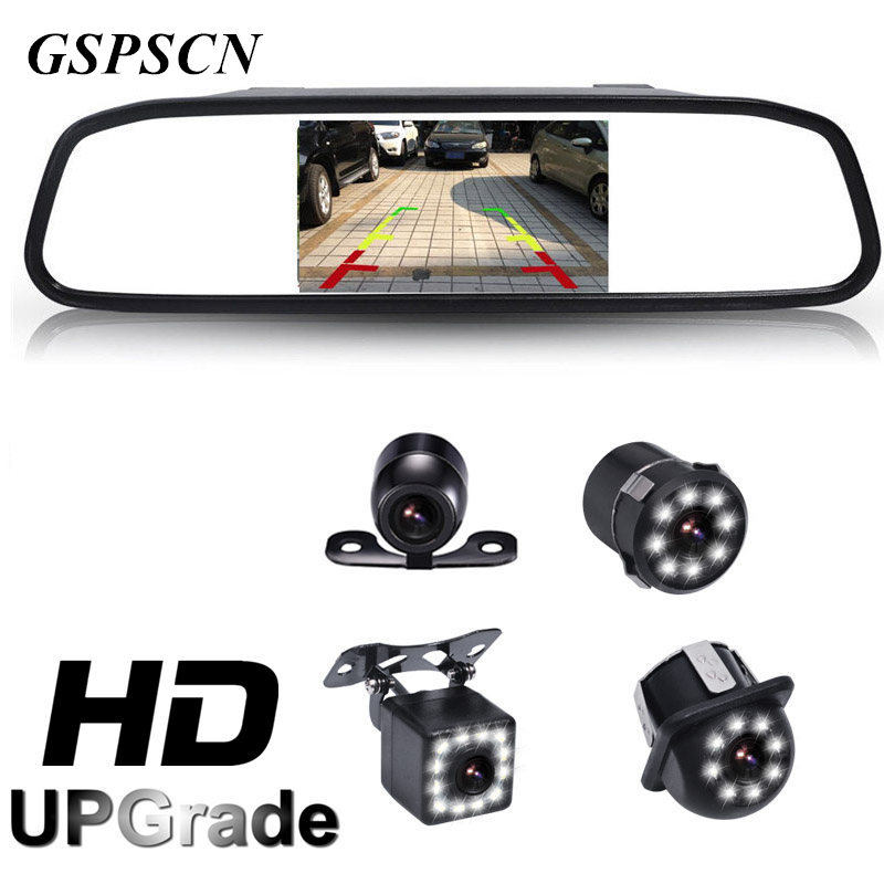 GSPSCN HD 4 3 TFT LCD 800 480 Car Rear View Mirror Monitor Parking Assistance with