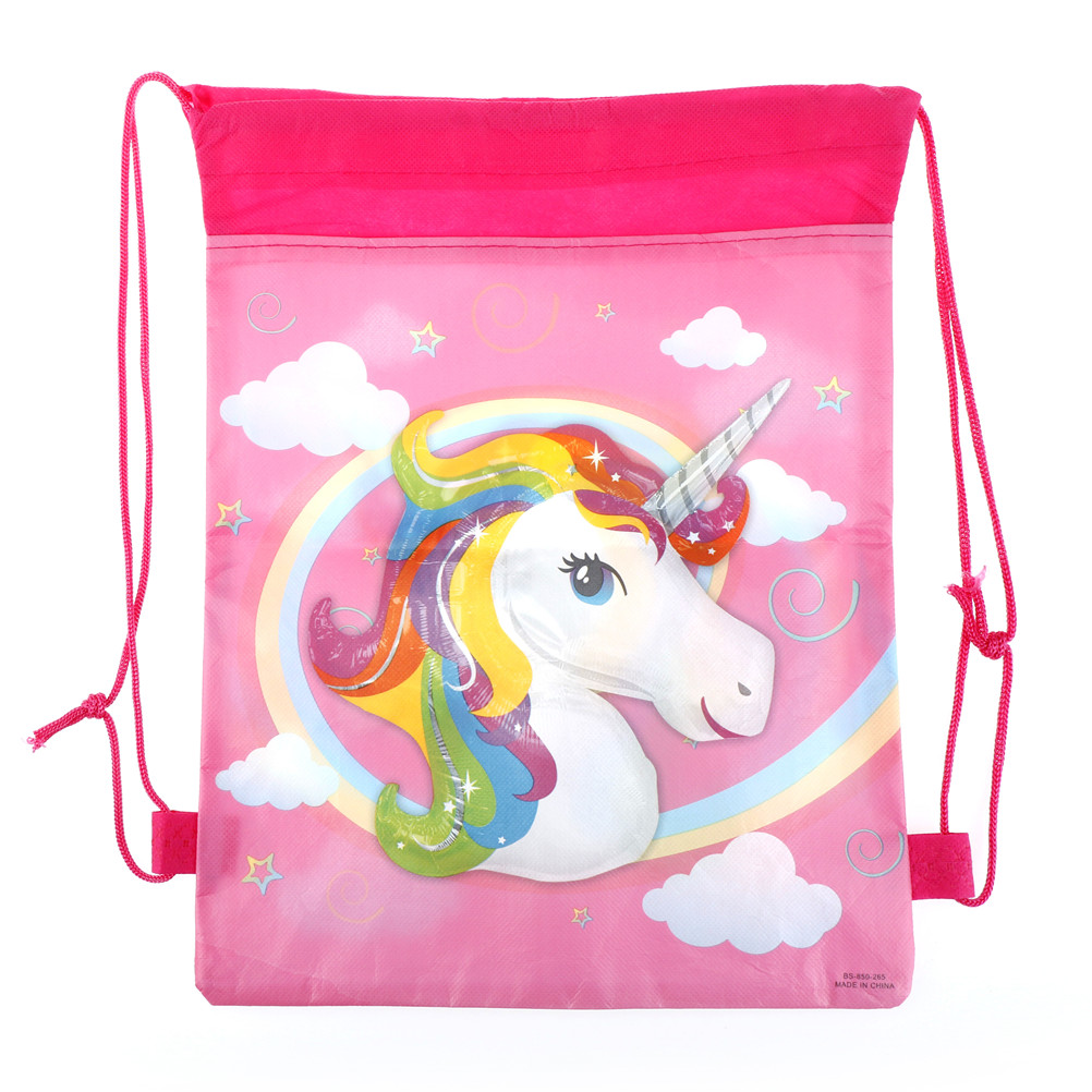10PCS/LOT Unicorn Drawstring Bags Cartoon Theme Unicorn String Bags Unicorn Drawstring Bag Kids Back Bags Wholesale