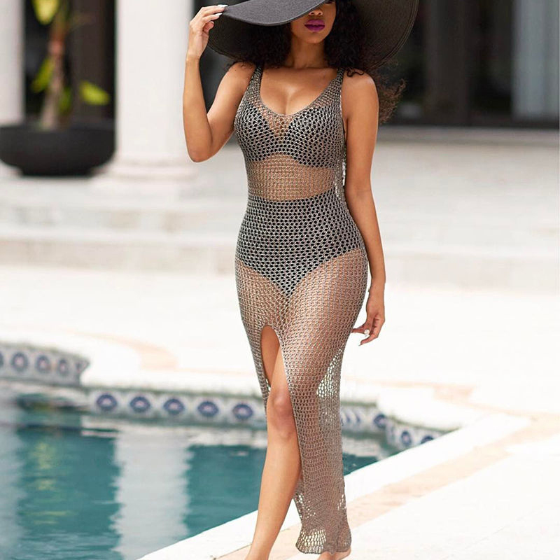 Crochet Hollow Out Beach Cover Ups 2018 Sexy Bikinis Cover Up Swimwear Women Plage Beach Wear Bathing Suit Cover Ups Dresses