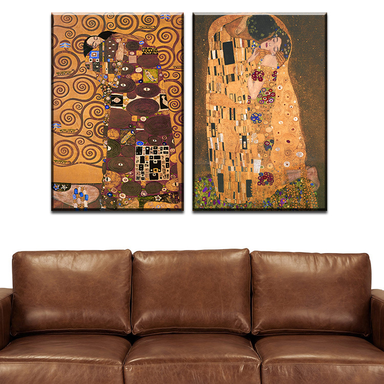 2 pcs best gustav klimt kiss home decor canvas wall art for Wall art sets for living room