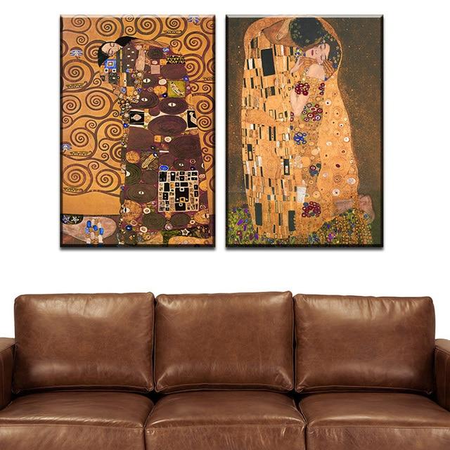 2 Pcs Best Gustav Klimt Kiss Home Decor Canvas Wall Art Picture Living Room  Canvas Print