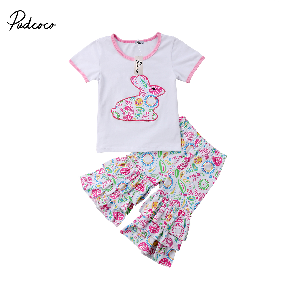 2pcs Newborn Kid Baby Girl Easter Set Floral Clothes Blouses+Long Pants Summer New Outfits 2pcs set newborn floral baby girl clothes 2017 summer sleeveless cotton ruffles romper baby bodysuit headband outfits sunsuit