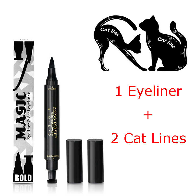 1Pc Quick Dry Makeup Eyeliner Waterproof Eyeliner Pen With Stamp+2Pcs Eye Cat Line Eyeliner Stencils Best Selling 2018 Products