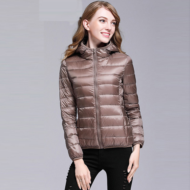 492605d42e5 Ultra Light Women Down Coats Short Thin Hooded Slim Warm Down Jackets  Winter Female Plus Size 3XL White Duck Down Coat FP0228