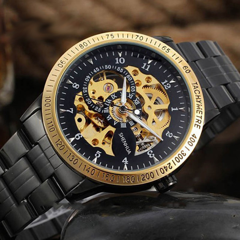 Vintage Black Gold Men's Skeleton WristWatch Stainless steel Antique Steampunk Casual Automatic Skeleton Mechanical Watches Male vintage bronze men wristwatch skeleton clock male leather strap antique steampunk casual automatic skeleton mechanical watches