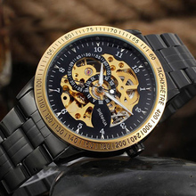 цена на Vintage Black Gold Men's Skeleton WristWatch Stainless steel Antique Steampunk Casual Automatic Skeleton Mechanical Watches Male