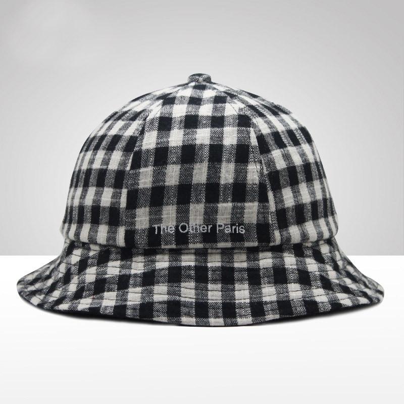 check plaid 100% cotton panama bucket hat women men fashion campaniform fisherman hat summer sporty sun hat hip hop cap