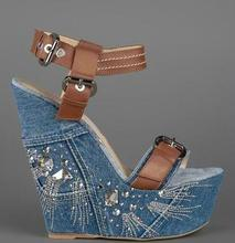 Summer Hot Crystal Side Women Fashion Blue Denim Sandals Brown Leather Buckles Ladies Sexy Wedge Heel