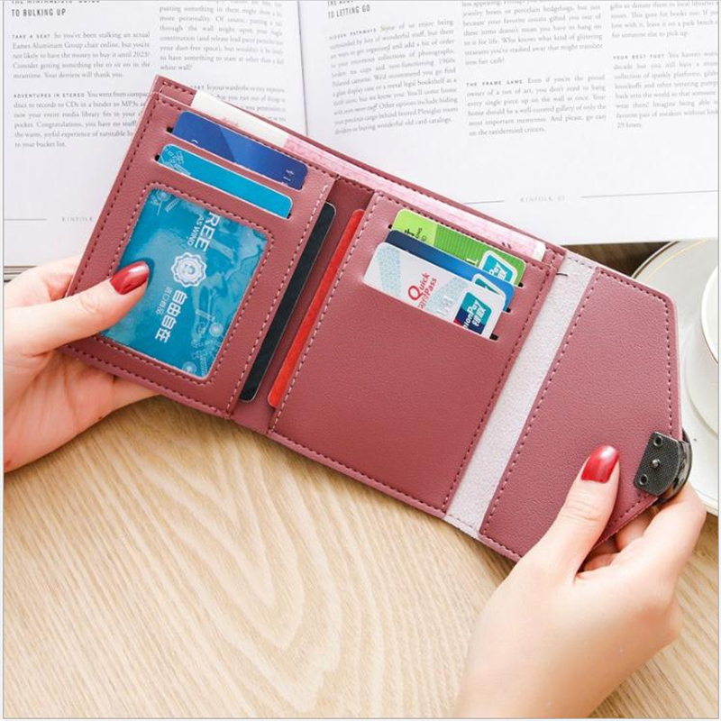 Cross-border Foreign Trade Explosion Short Paragraph Women's Wallet Korean Version Round Buckle Wallet Mini Change Card Package