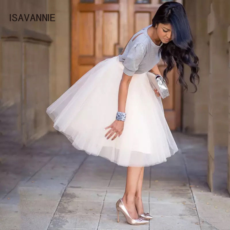 b12c0952e4 7 Layers Tulle Skirt Handmade Hidden Zipper Elegant Maxi Skirts Womens  Adult TUTU Pleated Bridesmaids Faldas