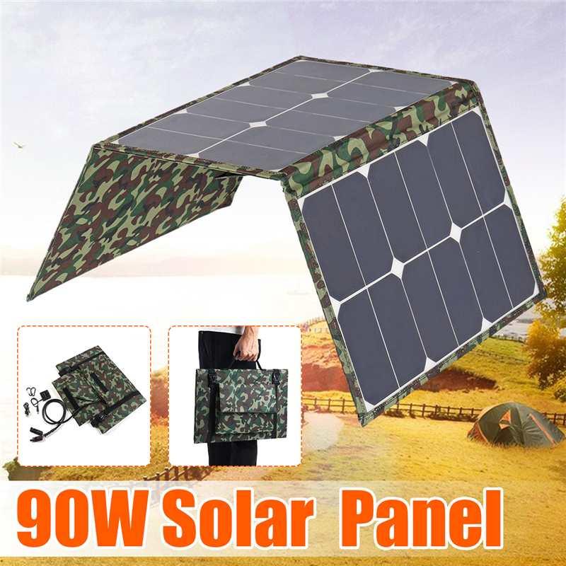 Hot 90 W panneaux solaires pliants 18 V/5 V étanche solaire puissance chargeur de cellules solaires Double USB sortie dispositifs portables pour Smartphones