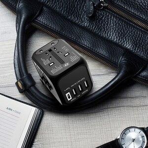 Image 3 - LINGCHEN Adapter podróżny międzynarodowy zasilacz 5A 3 Port USB 1 type c ładowarka podróżna zasilanie prądem zmiennym przejściówka Adapter do ue/UK/AU/US