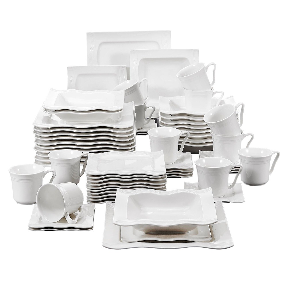 MALACASA Series Mario 60 Piece Porcelain Dinner Set Cups, Saucers, Dinner Soup Dessert Plates Set for 12 Person