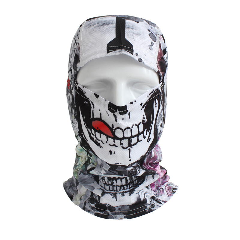 Beanie Hot Print Sale New Cycling Motorcycle Skull Mask Ride Skeleton Hap Balaclava Hood Cosplay Costume Full Face Masks halloween skeleton style cosplay costume face mask gloves set black white