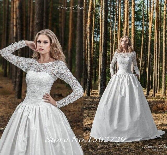 Vintage encaje de manga larga vestido de bola vestido de boda ...