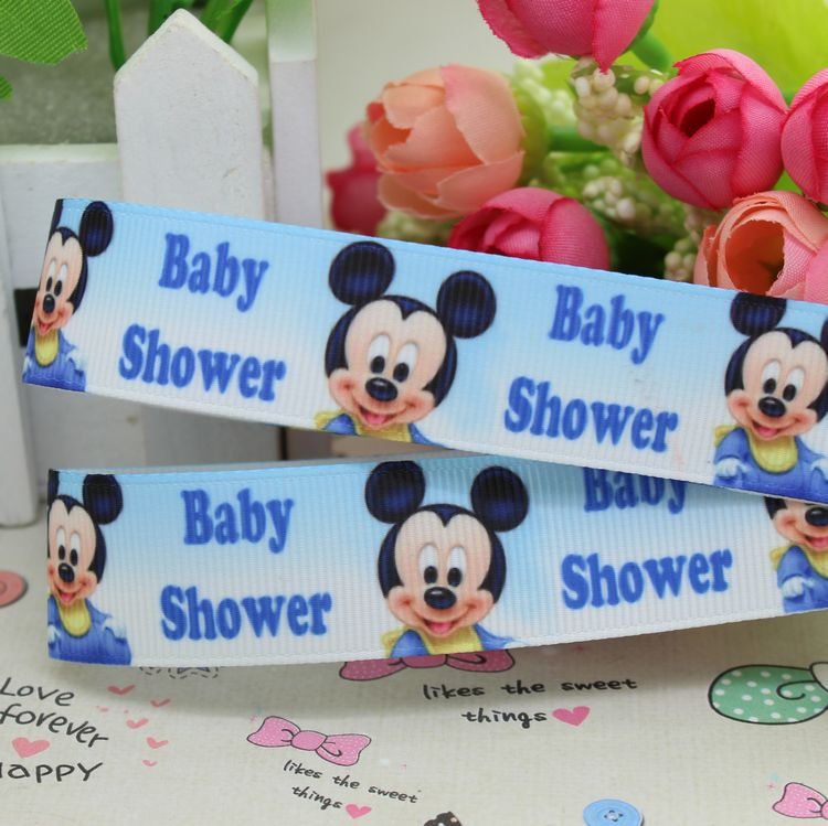 78 Free Shipping Mickey Baby Shower Printed Grosgrain