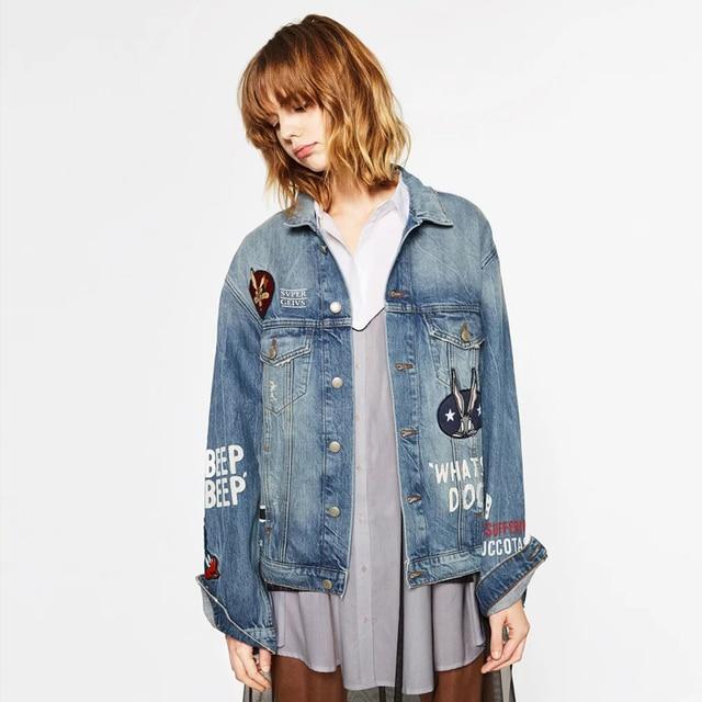 YNZZU 2017 Новая Коллекция Весна Женщины Микки Маус Джинсовые Куртки Свет Мыть Женщина Воротник Вышивка мода джинсы Пальто YO125