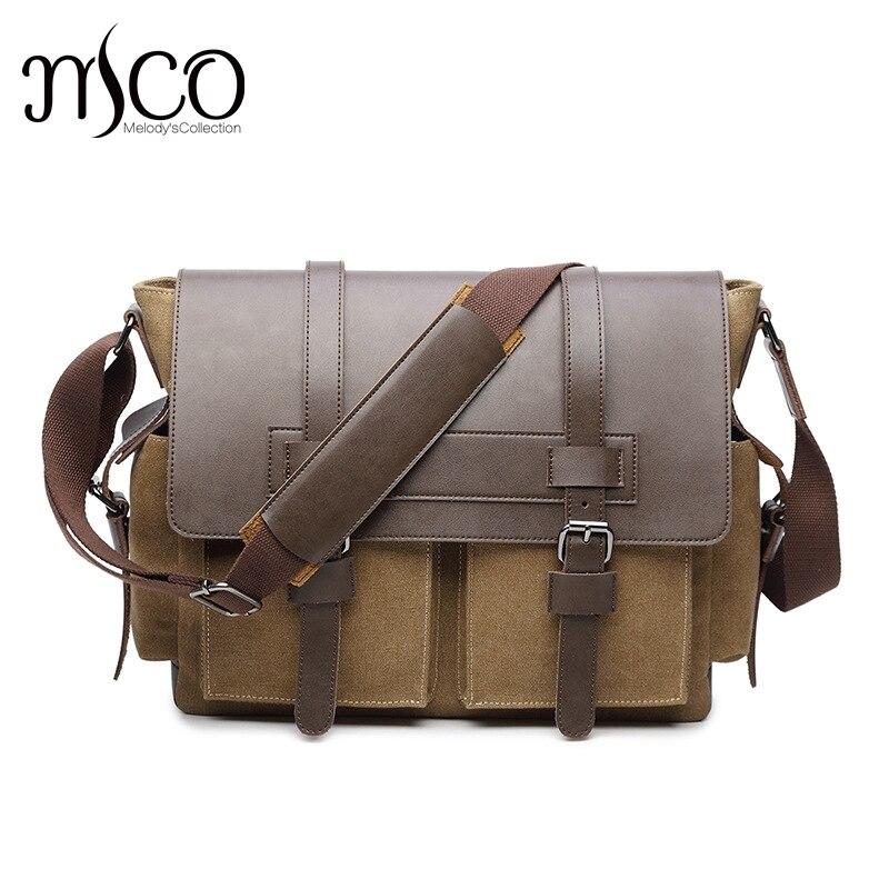 2017 marque Vintage hommes Messenger sacs toile sac à bandoulière mode hommes affaires sac à bandoulière en cuir voyage sac à main