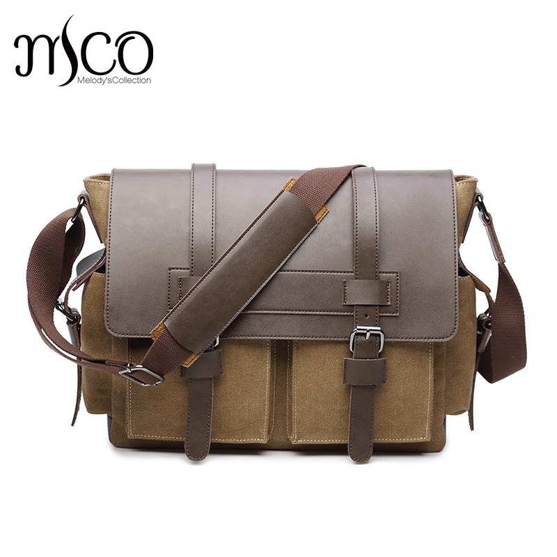 все цены на 2017 Brand Vintage Men's Messenger Bags Canvas Shoulder Bag Fashion Men Business Crossbody Bag Leather Travel Handbag