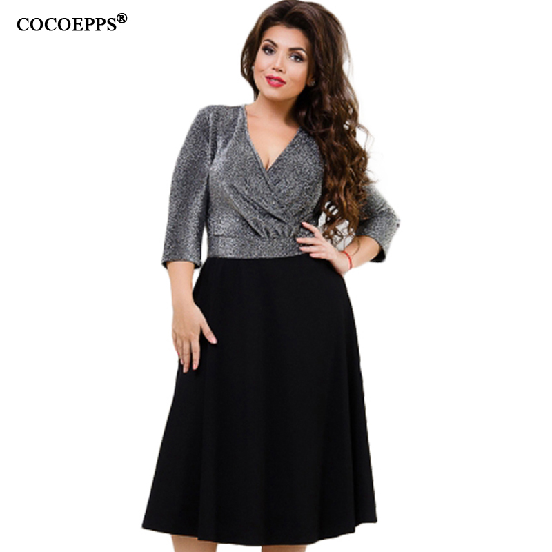 2018 Sexy Party Dress Female Big Vestidos 5XL 6XL Metallic Knitted Winter Dress Plus Size Women Dress Flare Black A-line Dresses
