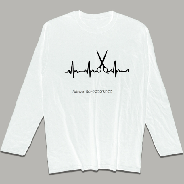 d1ee0ca95da Funny Heartbeat Hairdresser T Shirts New Men Printed Shirt Casual Long  sleeve Cotton O-neck Barber T-shirts Tops Brand Tees