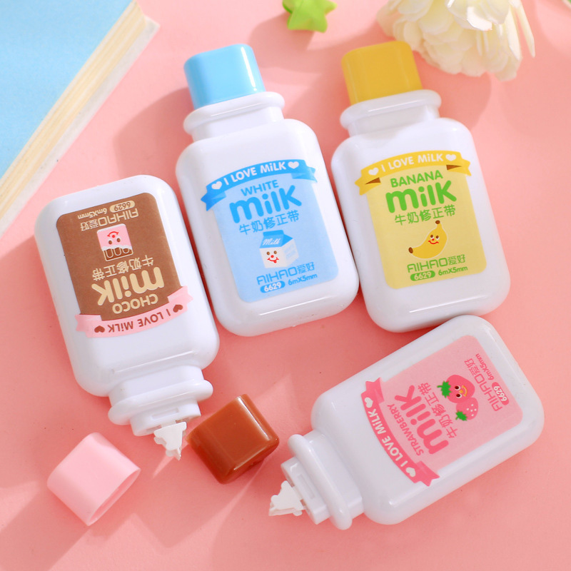 Cute Cartoon Kawaii Milk Style Correction Tape For Kids Gift School Supplies Materials Korean Stationery Novelty Wholesale Item 5mm x 5m deli sweet kawaii cloud shape mini correction tape korean stationery novelty office school supplies kids study tool