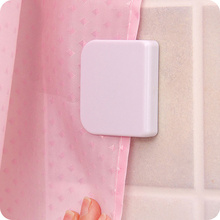 ФОТО 2pcs new shower curtain clip bathroom curtain buckle viscose dodechedron wind fixed hook curtain clip seamless sticky hooks