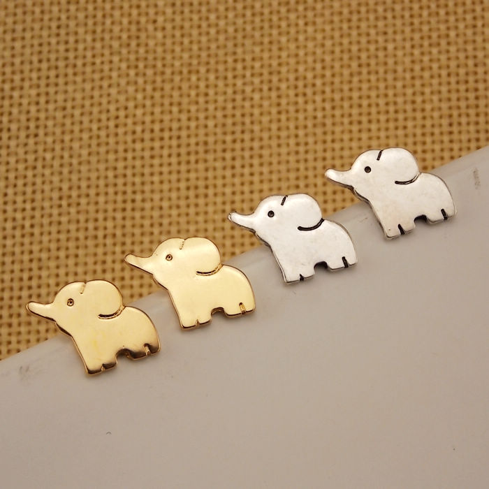 The new fashion stud earrings Japanese Korean cute cartoon elephant men and women fashion beautiful earrings small animals in Stud Earrings from Jewelry Accessories