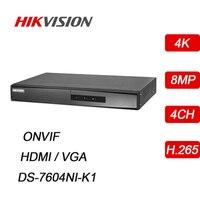 Hikvision встроенный 4CH NVR H.265 4 K 8MP HDMI/VGA ONVIF Plug and Play сети видео Регистраторы IP система наблюдения ссtv DS-7604NI-K1