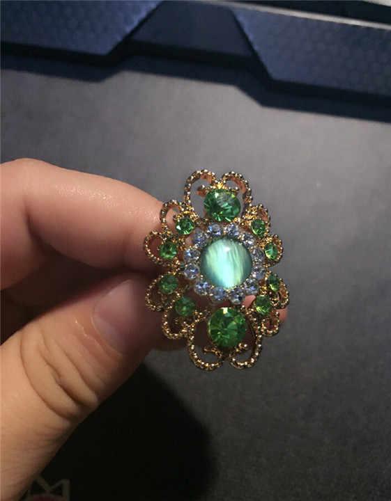 จัดส่งฟรียี่ห้อยอดนิยมโอปอล cat eye หินธรรมชาติ rhinestones แหวนนิ้วมือแฟชั่นเครื่องประดับงานแต่งงาน