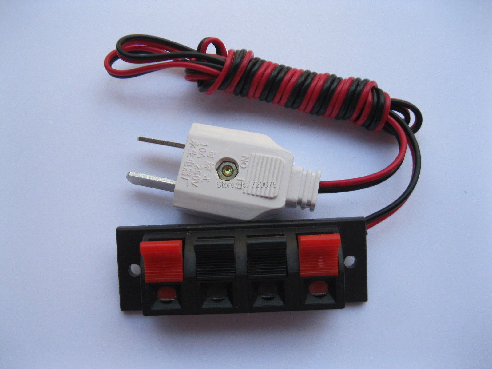 цена на 6 pcs Speaker Terminal Board Spring Loaded 4-Way With Adapter Plug 1.5m