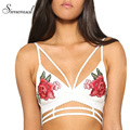 Simenual Embroidery flower summer women camis bra crop top 2017 sexy hot strap tops fashion slim ladies camisole female bralette