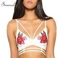 Simenual flor Del Bordado mujeres del verano camis bra crop top 2017 sexy hot correa tops moda delgado señoras camisola mujeres bralette