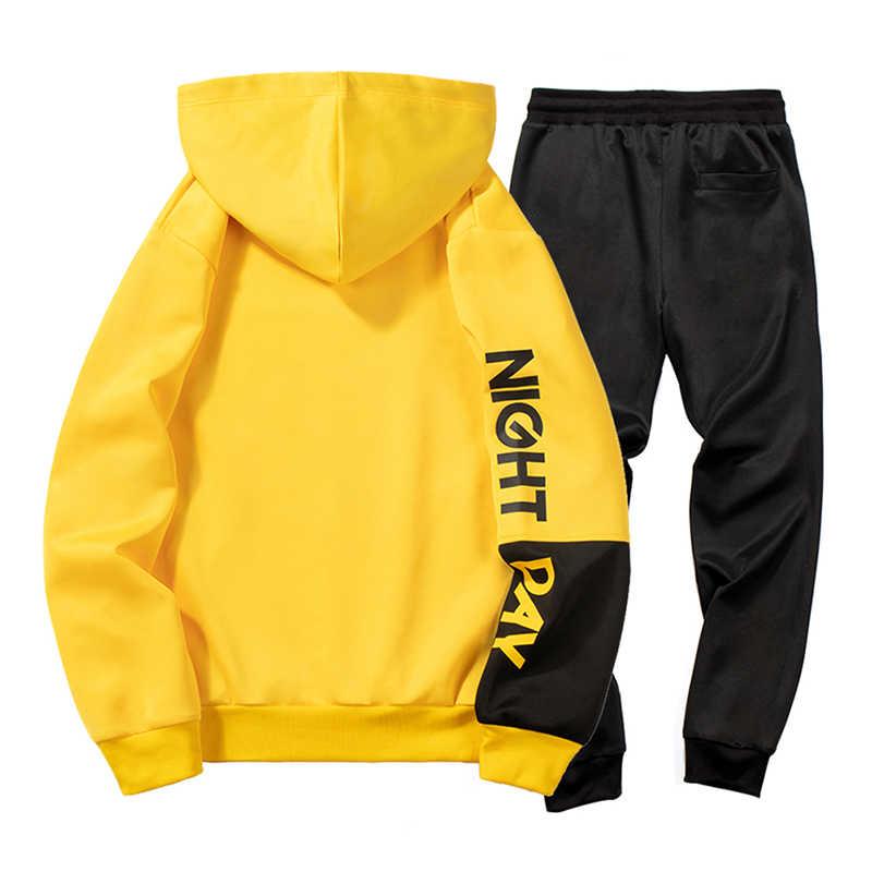 Men Tracksuit Set 2019 Autumn New Mens Sweat Suits Hoodie Two Piece Set Man Slim Fit Fitness Clothing Men Sweatsuit Outwear