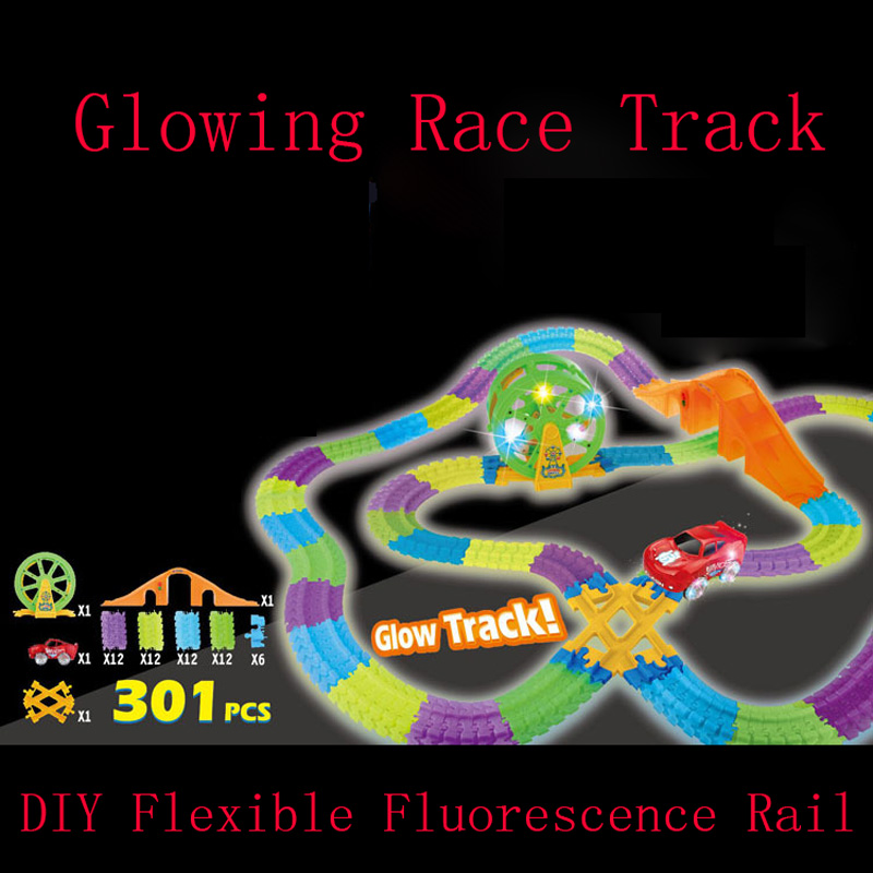 Magic Glow Track With Race Car interesting Track Game DIY Assembly Music Race Electronic Lights Rail for Children Gifts Kids Toy