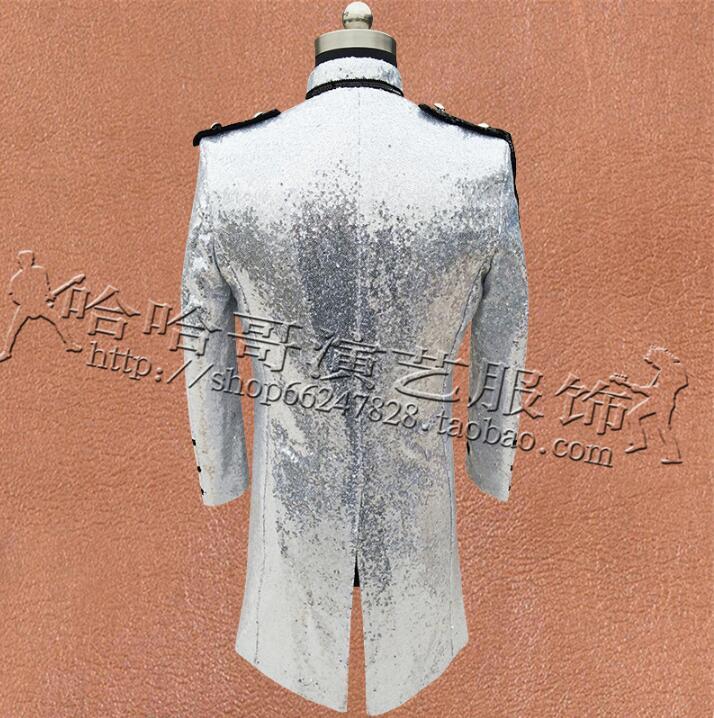 Multi breasted Kleding Mannen Pailletten Suits Ontwerpen Podium Kostuums Voor Zangers Jas Heren Blazers Dance Ster Stijl Zwart Zilver - 5