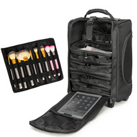 BeaSumore Multifunction Cosmetic Case Rolling Luggage Spinner 20 inch Women Cabin Suitcase Wheels Manicure toolbox Trolley