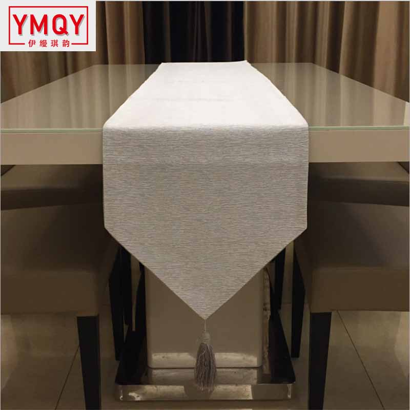 New Arrival Silver Color Table Flag Table Runner Table Cloth Pure Color Tablecloth Table Flag 30*210 Bed Flag Household Articles