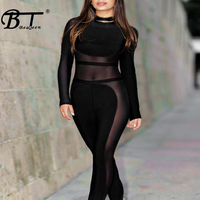 Beateen 2018 Jumpsuits New Black Mesh Patchwork Long Sleeve Skinny Sexy Bandage Jumpsuits Fashion