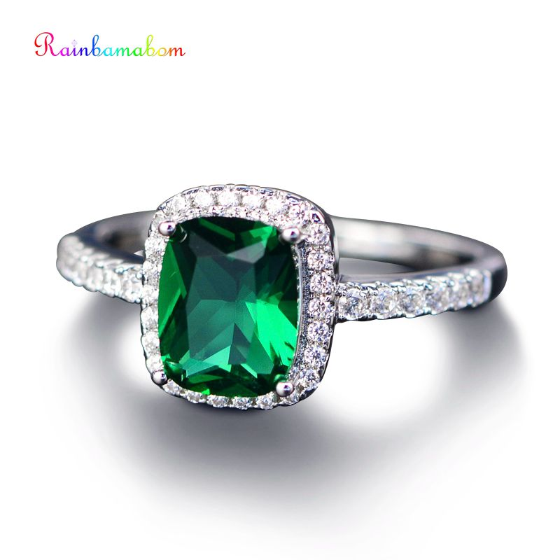 Rainbamabom Vintage 925 Sterling Silver Created Moissanite Gemstone Birthstone Couple Lover Ring Jewelry Wholesale Lots Bulk