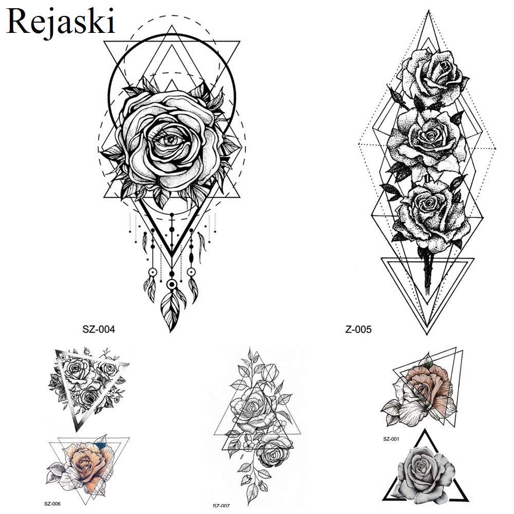 Rejaski Women Flirtatious Tattoo Stickres Body Art Painting Girl Fashion Temporary Tattoo Geometric Rose Dreamcatcher Fake Tatoo line art