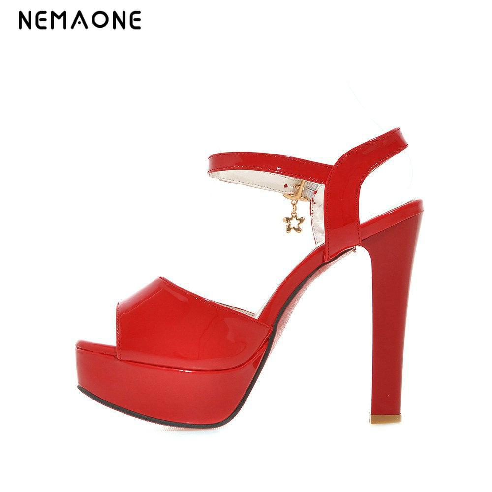 NEMAONE Plus Size 34-43 Summer Women Sandals Fashion High Heels Sandal Sexy Gladiator T-strap Platform Party Dress Shoes Woman nemaone new sexy high heels sandals