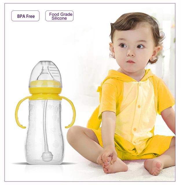 Garrafa garrafa de silicone de alimentação do bebê com alça mamadeira calibre padrão mamilo automático com garrafa de leite materno 240 ml