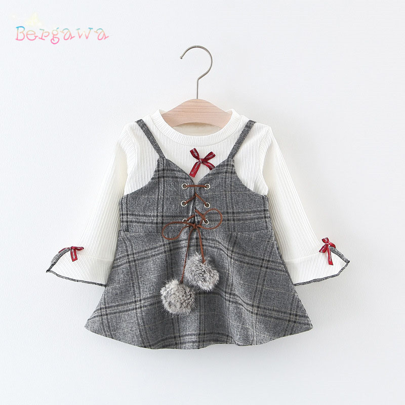 Spring Long Flare Sleeve Bow Baby T-shirt Tops+Straped Plaided Balls Girls Kids Princess Party Infants Dress Vestido 2pcs S6115
