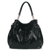 Women Snake Striae Shoulder Bags High Quality Ladies Fashion Genuine Leather Handbag Commuter OL Bag