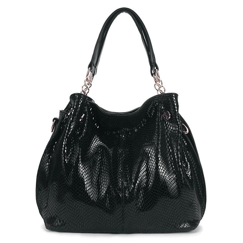 Women Snake striae Shoulder bags big shoulder messenger bag high quality ladies fashion Genuine Leather handbag